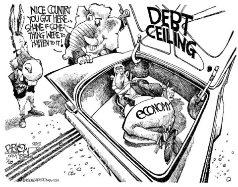 John Darkow - Columbia Daily Tribune, Missouri - Blackmail with the Debt Ceiling - English - Black, Mail, Blackmail, Debt, Ceiling, Money, Economy, Nice, Country, Happen, Lose, Shame, Car, Trunk, Hide