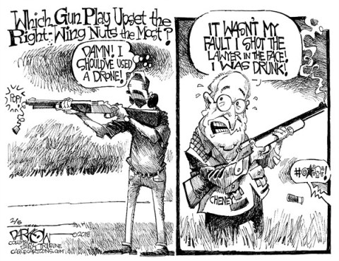 John Darkow - Columbia Daily Tribune, Missouri - Gun Politics - English - Politics, Government, Gun, Control, Shoot, Shot, Fire, Drone, Drunk, Lawyer, Fault, Upset, Play, Wing, Nut, Cheney