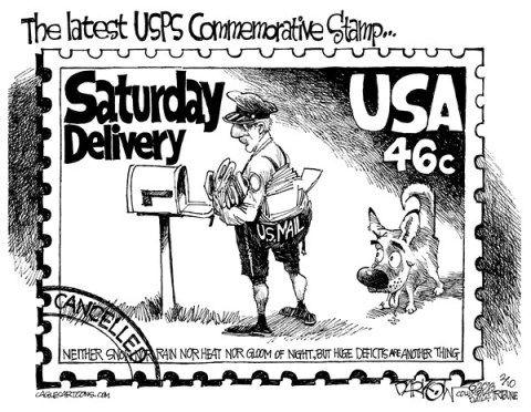 John Darkow - Columbia Daily Tribune, Missouri - No Saturday Delivery - English - Mail, Deliver, Stop, Mailbox, Dog, Post Office, Saturday, Weekend, Week, USA, 46 cents, Cost, Expense, Cancelled, Commemorative, Stamp, USPS, Letter, Deficit