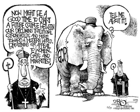 John Darkow - Columbia Daily Tribune, Missouri - Reformation for GOP - English - GOP, Reform, Course, Decline, Traditional, Stronghold, Modern, World, Broadening, Appeal, Women, Gay, Minority, Pope, God, Religion, Democrats, Republicans, Politics