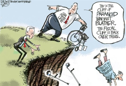 Pat Bagley - Salt Lake Tribune - Cliffs of Insanity - English - Utah, Senate, Mike Lee, Orrin Hatch, Hatch, Orrin, UN, United Nations, Disabled, Treaty