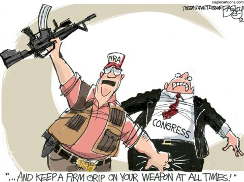 Pat Bagley - Salt Lake Tribune - NRA Grip on Congress COLOR - English - Congress,NRA,Gun Control,Sandy Hook,Newtown,Bushmaster,Rifle,Gun,Assault Weapon,Magazine,bullets,Massacre,Regulation,gun debate 2012, nra