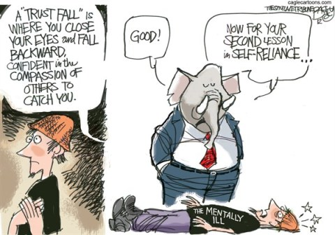 Mental Health Care © Pat Bagley,Salt Lake Tribune,Mental Health,Mentally Ill,Safety Net,Republicans,Social Safety Net,Health Care,Guns,connecticut shooting, GOP, school violence