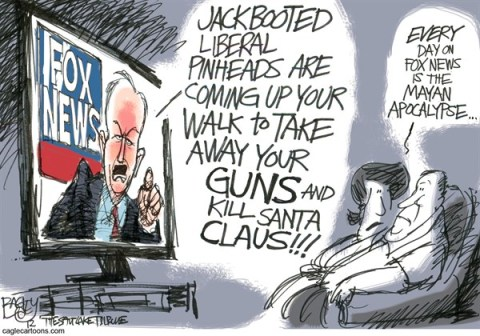 Pat Bagley - Salt Lake Tribune - Fair and Balance Apocalypse - English - Apocalypse, Mayan Maya, Calendar, Fair and Balanced, Fox news, Guns, NRA, OReilly, Factor