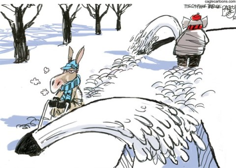 Pat Bagley - Salt Lake Tribune - Snow Job - English - Snow, Storm, GOP, Republicans, Bipartisan, Democratic, Democrats, Fiscal Cliff, Negotiations,