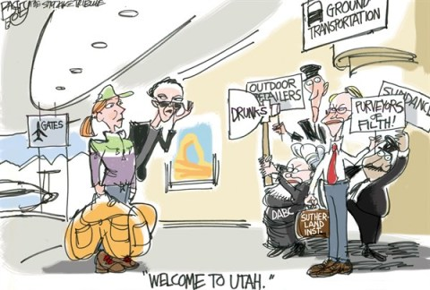 Pat Bagley - Salt Lake Tribune - LOCAL Sundance Film and Outdoor Retailers - English - Sundance, Utah, Salt Lake, Outdoor retailers, Movies, Sutherland Institute, Carrie Nation, Alcohol, Morality, Sex