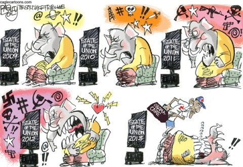 Pat Bagley - Salt Lake Tribune - Excitable State of the Union  - English - GOP, Obama, State of the Union, Obamacare, Republicans, Guns, Socialism, Limbaugh