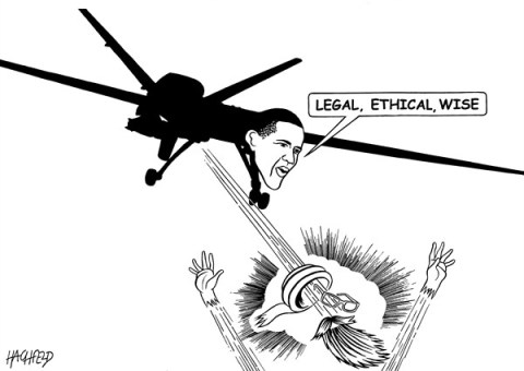 Rainer Hachfeld - Neues Deutschland, Germany - Obama's drone - English - drone with face of Obama