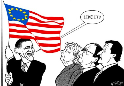 Rainer Hachfeld - Neues Deutschland, Germany - Obama and the Europeans - English - Barack Obama, Angela Merkel, François Hollande, Davis Cameron