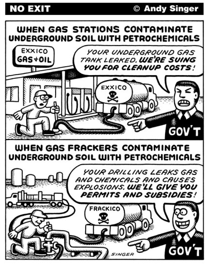 Andy Singer - Politicalcartoons.com - Gas Station Brownfields vs Fracking - English - fracking,frack,fracks,fracker,frackers,hydraulic,fracturing,fracture,fractures,shale,slate,rock,natural,gas,gases,gasses,petrochemical,petrochemicals,chemicals,chemical,petroleum,oil,energy,stations,leak,leaks,brown,field,brownfield,environment