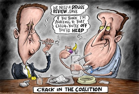 Brian Adcock - The Scotland - Crack in the Coalition - English - crack in the coalition, coalition, liberal democrats, lib dems, conservatives, tories, david cameron, nick clegg, crack, crack cocaine, smoking crack, drugs, drugs policy, off your head,