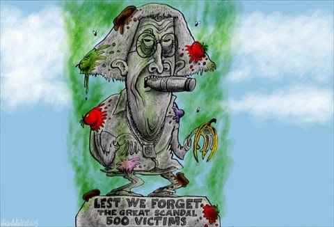 Brian Adcock - The Prague Post - Lest We Forget - English - lest we forget,jimmy savile,scandal,child abuse,500 victims,the great scandal,statue,rotten fruit,BBC