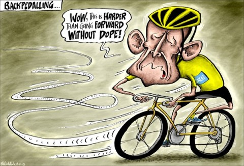 Brian Adcock - The Scotland - Lance Armstrong Backpedalling - English - lance armstrong, backpedalling, dope , cheating, tour de france, cycling, oprah, oprah winfrey, confession,