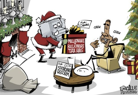 Eric Allie - Caglecartoons.com - Exchange of gifts COLOR - English - obama, fiscal cliff, tax hikes, democrats, progressive, spending, entitlements, economy, christmas,