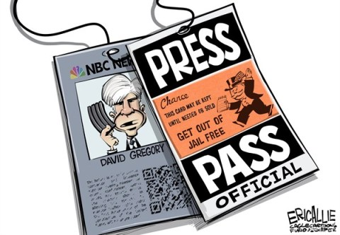 Eric Allie - Caglecartoons.com - David Gregory press pass COLOR - English - David Gregory, NBC, elite, press, media, rules, law, guns, msm, democrats, law