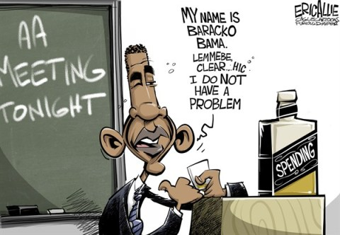 Eric Allie - Caglecartoons.com - Spending problem COLOR - English - spending, barack obama, debt ceiling, tax, spend, democrats