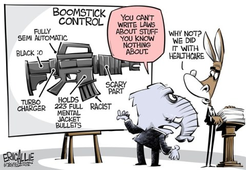 Eric Allie - Caglecartoons.com - Boomstick control COLOR - English - guns, assault guns, democrats, healcare, obamacare, know nothings, anti science, obama, 2nd amendment