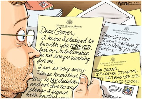 RJ Matson - Roll Call - Dear Grover Letters-COLOR - English - Dear Grover Letters, Grover Norquist, Tax Cut Pledge, Taxes, Republicans, Congress, House, Senate, Federal Budget, Deficits, Revenue, Tax Rates