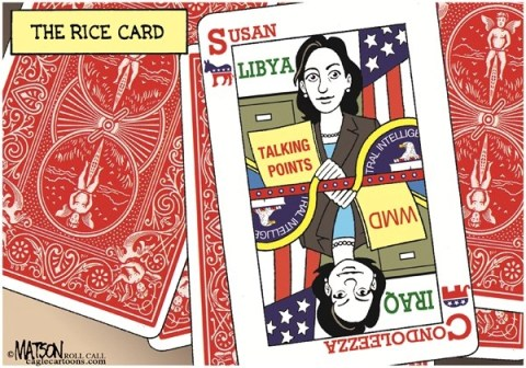RJ Matson - Roll Call - The Rice Card-COLOR - English - The Rice Card, Susan Rice, Condoleezza Rice, Secretary of State, Libya, Iraq, Benghazi, WMD, Intelligence, CIA, Senate, Politics