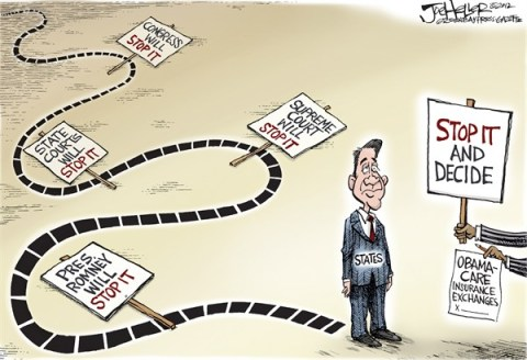 Joe Heller - Green Bay Press-Gazette - Decision Time - English - Decision Time, Obamacare, insurance exchanges, affordable care act, stop it