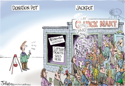Joe Heller - Green Bay Press-Gazette - Lottery - English - lottery, jackpot, donation pot, mega bucks, powerball, giving, food bank, pantry, salvation army, holiday giving