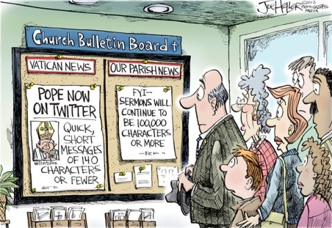 Joe Heller - Green Bay Press-Gazette - Pope Tweets - English - Pope, vatican, twitter, tweets, Benedict XVI, sermons
