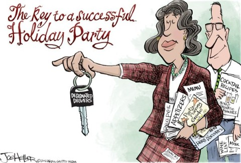 Joe Heller - Green Bay Press-Gazette - Holiday Party - English - holiday party, owi, dwi, drunken driving, key to, designated driver