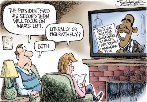 Joe Heller - Green Bay Press-Gazette - Lean Left - English - Lean Left, obama inauguration speech, second term, gun control, climate change, gay rights, immigration, liberal agenda