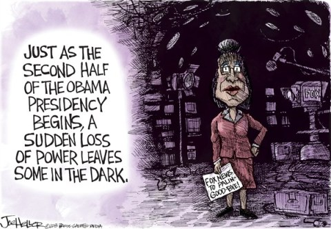 Joe Heller - Green Bay Press-Gazette - Sarah Palin - English - Sarah Palin, Fox News, Power outage, Super bowl, tea party, black out