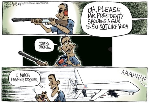 Joe Heller - Green Bay Press-Gazette - Obama Shoots - English - Obama shoots, NRA, guns, skeet, drones