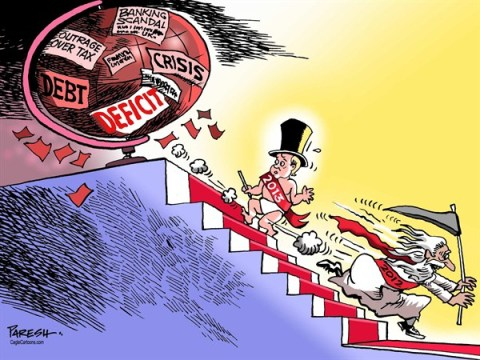 Paresh Nath - The Khaleej Times, UAE - New Year 2013 - English - New Year baby, 2013, debt crisis, banking scandal,deficit,USA, eurozone,world economy,2012 effect