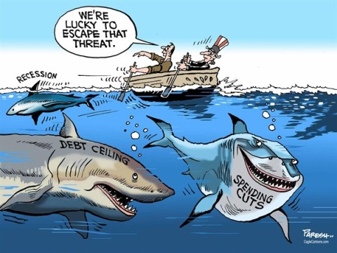 Paresh Nath - The Khaleej Times, UAE - Threat to Economy COLOR - English - USA Economy, recession,debt ceiling, spending cuts,sharks,Uncle Sam
