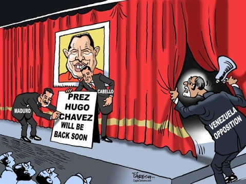 Paresh Nath - The Khaleej Times, UAE - The Chavez show COLOR - English - Hugo Chavez, Venezuela President, Cabello, Maduro, Venezuela opposition, treatment in Cuba, coming soon