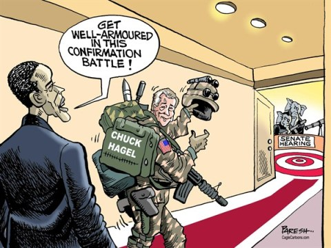 Paresh Nath - The Khaleej Times, UAE - Chuck Hagel's battle COLOR - English - Chuck Hagel, Defence secretary, nomination, Senate hearing, confirmation, armoured, Obama, USA defence