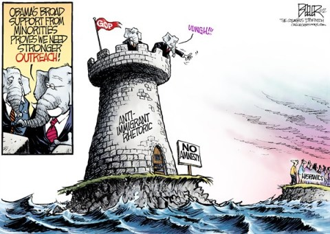 Nate Beeler - The Columbus Dispatch - GOP Hispanic Outreach COLOR - English - gop, republicans, elephant, tower, immigration, immigrant, rhetoric, amnesty, election, barack obama, minorities, hispanics, latinos, outreach, conservatives, island, politics, election, campaign, 2012