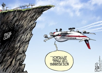 Nate Beeler - The Columbus Dispatch - Fiscal Cliff Approach COLOR - English - fiscal cliff, congress, washington, white house, barack obama, republicans, democrats, plane, cliff, tax cuts, taxes, politics, bipartisanship, negotiations, boehner, government, spending, cuts