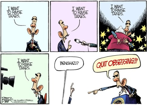 Nate Beeler - The Columbus Dispatch - Obama Obsession COLOR - English - barack obama, taxes, tax, cuts, bush, rich, benghazi, foreign affairs, libya, politics, raise, spending, fiscal cliff, government, media, obsession, obsessing