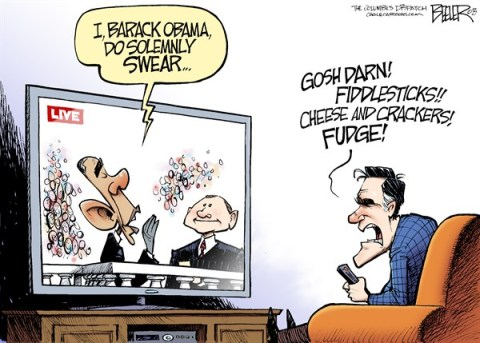 Nate Beeler - The Columbus Dispatch - Swearing In C - English - barack obama, inauguration, oath, office, swear, mitt romney, gosh, darn, fiddlesticks, cheese, crackers, fudge, politics, president, john roberts