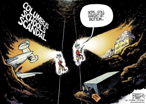 Nate Beeler - The Columbus Dispatch - LOCAL OH - Columbus Schools Scandal COLOR - English - columbus, schools, education, data, rigging, scandal, spelunking, cave, rapelling, earhart, hoffa, socks, bottom, grades, gene harris, school, board, superintendent, attendance, scrubbing, children, students