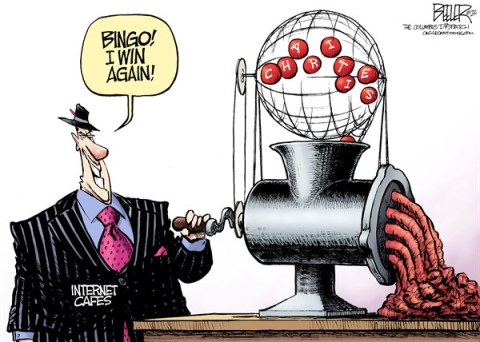 Nate Beeler - The Columbus Dispatch - LOCAL OH - Gambling Grinder COLOR - English - internet, cafe, bingo, gambling, ohio, gamble, charities, charity, churches, nonprofits, casino, meat, grinder