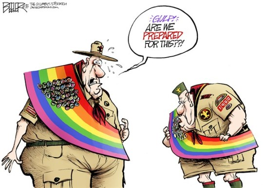Nate Beeler - The Columbus Dispatch - Gay Scouts COLOR - English - boy scouts of america, boy, scouts, gay, homosexual, rainbow, flag, sash, merit, badges, prepared, children, culture