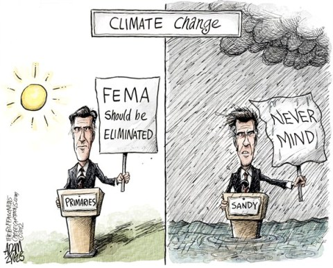 Adam Zyglis - The Buffalo News - FEMA COLOR - English - mitt,romney,election,fema,primaries,conservative,eliminate,president,climate change,sandy,weather,politics,best of romney, hurricane, political storm