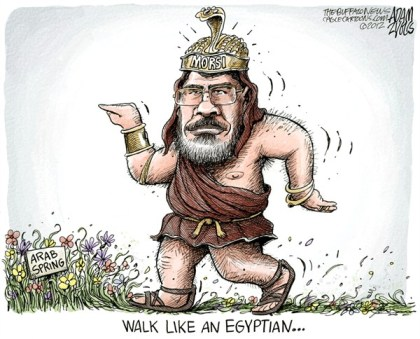Adam Zyglis - The Buffalo News - Egypt President Morsi COLOR - English - egypt, president, morsi, constitution, arab spring, walk, like, egyptian, middle east, democracy, freedom