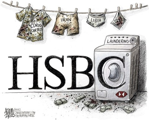 Adam Zyglis - The Buffalo News - HSBC Bank COLOR - English - hsbc, bank, money, laundering, libya, iran, mexico, drug, cartels, illegal, activity, financial, settlement, international, business