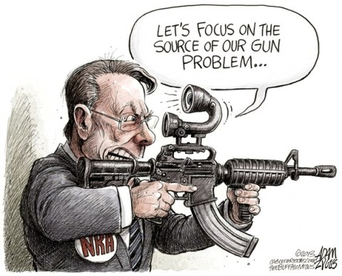 Adam Zyglis - The Buffalo News - NRA CEO LaPierre COLOR - English - nra, assault, weapons, magazines, large, clips, ban, laws, gun, reform, regulation, wayne, lapierre, mass shootings, violence, automatic, semi, gun rights, 2nd amendment