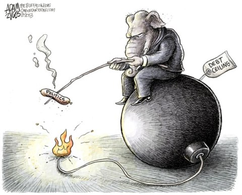 Adam Zyglis - The Buffalo News - Debt Ceiling Politics COLOR - English - gop, republican, party, debt ceiling, raise, politics, bomb, congress, obama, spending, fiscal, crisis