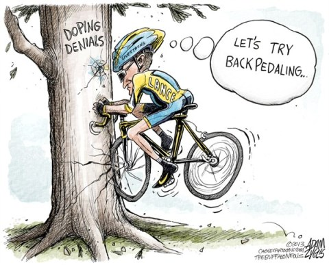 Adam Zyglis - The Buffalo News - Lance Backpedaling COLOR - English - lance, armstrong, lies, backpedaling, doping, denial, confession, admits, oprah, sports, cycling, performance, enhancing, drugs