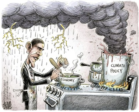 Adam Zyglis - The Buffalo News - Obama Climate Policy COLOR - English - obama, climate, policy, economy, environment, business, back burner, climate change, emissions, carbon, global warming, earth
