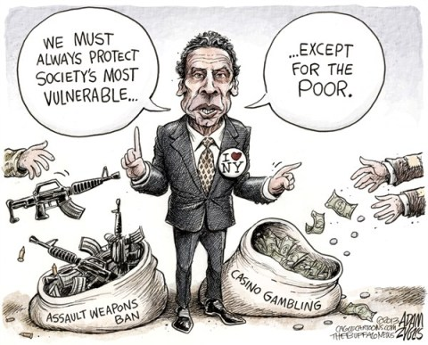 Adam Zyglis - The Buffalo News - NY State Governor Cuomo COLOR - English - new york, ny, governor, cuomo, andrew, assault weapons, guns, ban, safe, act, law, casino, gambling, indian, revenue, schools, poverty, upstate, addiction