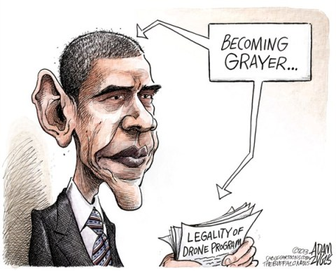 Adam Zyglis - The Buffalo News - Obama Drone Program COLOR - English - obama, gray, grayer, drone, program, cia, secret, strikes, war, president, powers, legal, authority, constitution, white house, law,